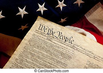 bandera, amerykanka, niezależność, deklaracja