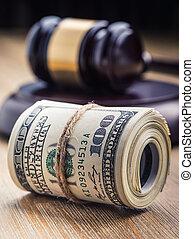 bandera, młot, banknotes., korupcja, wciąż, tło., sprawiedliwość, usa, dolary, wywracany, gavel, sędziowski, gavel., życie, banknotes, na, system, dziedziniec, sędzia, korupcja