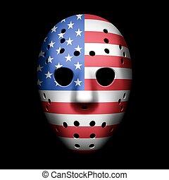 bandera, maska, bramkarz, usa
