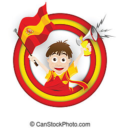 bandera, piłka nożna, miłośnik, rysunek, hiszpania