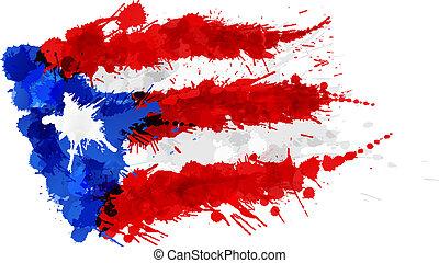 bandera, rico, puerto, robiony, plamy, barwny