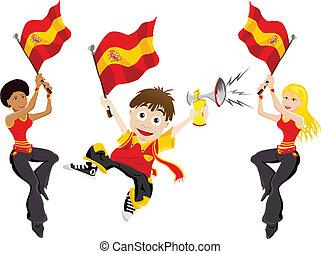 bandera, sport, miłośnik, hiszpania, róg