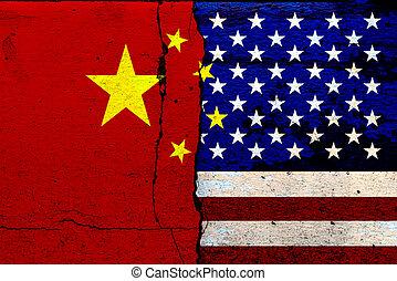 bandera, stany, bitwa, zjednoczony, malować, pęknięty, ściany, (mixed, media), ameryka, ekonomiczny, porcelana