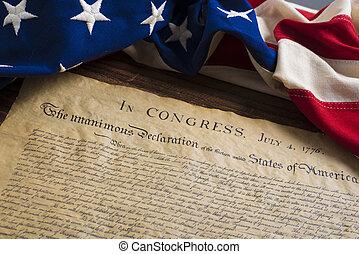bandera, stany, zjednoczony, deklaracja, niezależność, rocznik wina