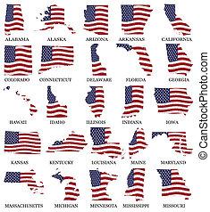 bandera, stany, zjednoczony, mapy, m