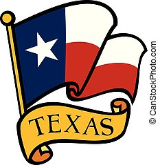 bandera, wektor, texas, ilustracja