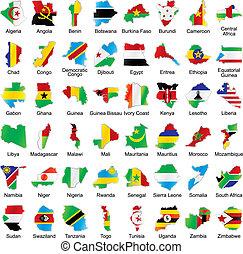 bandery, afrykanin, mapa, szczegóły, formułować