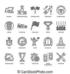 bandery, hełm, ślad, wheel., piktogram, warcaby, -, wektor, mistrzostwo, biegi, sterowniczy, znaki, miłośnik, biegacz, linearny, editable, icons., auto, uderzenie, kreska, samochód, store., wóz, sport, komplet, szybkość, wypadek