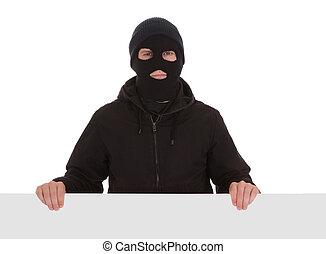 bandyta, czarnoskóry, maska, karta, czysty