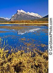 banff, odbicie, kanadyjczyk, obsada, vermilion, jezioro, rocki, rundle