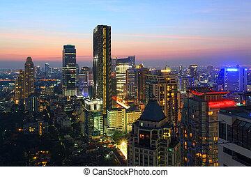 bangkok, cityscape, sylwetka na tle nieba