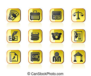 bank, finanse, handlowe ikony