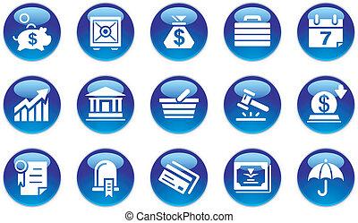 bankowość, komplet, &, handlowe ikony