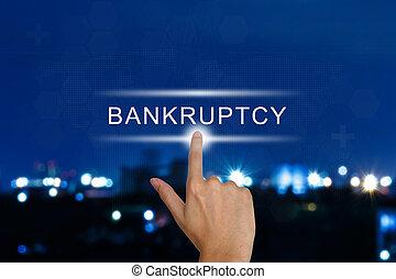 bankructwo, finansowy, dotyk, rzutki, ekran, ręka, guzik