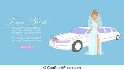 banner., dama, fason, piękny, wektor, illustration., wóz, panna młoda, wesele, drużyna, ślub, rysunek, fashion., strój, tło, wzór