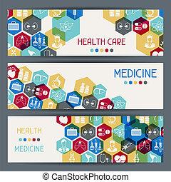 banners., medyczne zdrowie, poziomy, troska