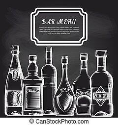 bar, chalkboard, butelki, tło, menu