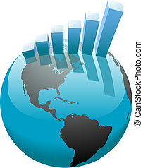 bar, handlowy, wykres, globalny, wzrost, świat