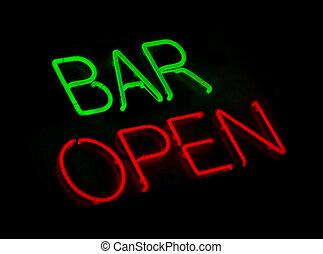 bar, otwarty, neon znaczą