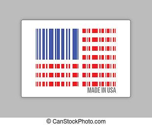 barcode, ilustracja, robiony, usa., usa