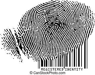 barcode., rejestrowy, -, odcisk palca, twarzowy, identyczność