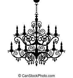 barok, świecznik, sylwetka