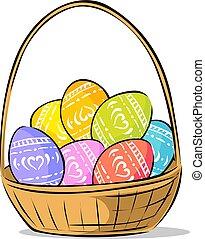 barwione jajko, -, ilustracja, wektor, kosz, wielkanoc