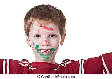 barwiony, grający dziećmi, malować, twarz