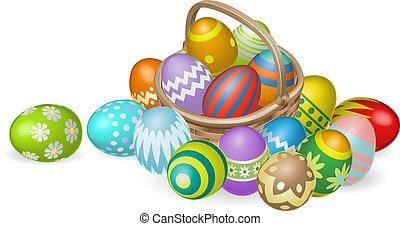 barwiony, kosz, jaja, wielkanoc, ilustracja