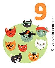 barwny, 10., liczba, książki, 9, pirat, cats., afisze, illustration., 1, bilety, odliczający, strona, skład