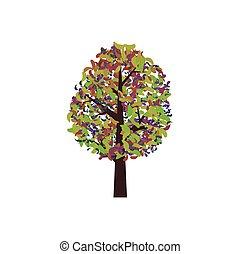 barwny, abstrakcyjny, drzewo, ilustracja, wektor, rysunek