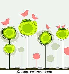 barwny, abstrakcyjny, drzewo, wektor, tło, ptaszki