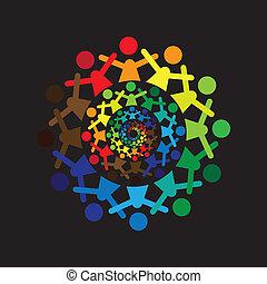 barwny, abstrakcyjny, razem, graphic-, wektor, icons(si, dzieciaki, pojęcie