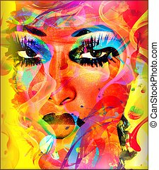 barwny, babski, abstrakcyjna twarz