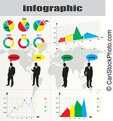 barwny, biznesmen, zbiór, infographic, sylwetka