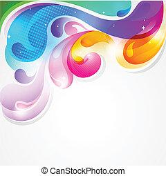 barwny, bryzg, abstrakcyjny, malować, wektor, tło