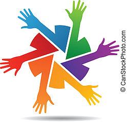 barwny, drużyna, wektor, ręka, ręka
