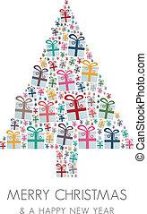 barwny, drzewo, gwiazdkowy dar, boks