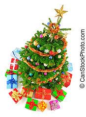 barwny, drzewo, prospekt, boże narodzenie, górny