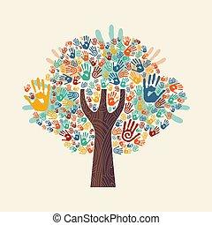 barwny, drzewo, współposiadanie, ręka, rozmaity, ilustracja