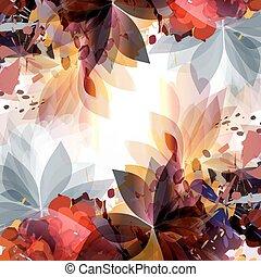 barwny, fason, abstrakcyjny, spots., ilustracja, liście, wiosna