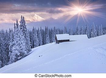 barwny, góry., dramatyczny, wschód słońca, zima, sky.