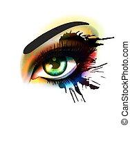 barwny, grunge, fason, piękno, do góry, ustalać, oko, pojęcie