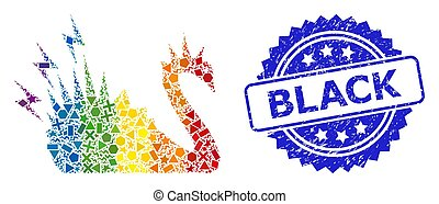 barwny, grunge, lgbt, niebezpieczeństwo, geometryczny, znak, łabędź, czarnoskóry, tłoczyć, mozaika
