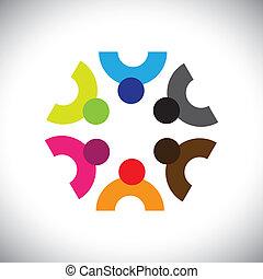 barwny, ikony, ludzie, albo, projektować, drużyna, dzieci
