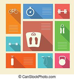 barwny, ikony, tekst, wektor, miejsce, sport