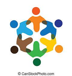 barwny, interpretacja, pojęcia, współposiadanie, interpretacja, przyjaźń, pracownik, wektor, dzieci, &, szkoła, zjednoczenia, rozmaitość, wyobrażenia, dzielenie, icons(signs)., pracownik, dzieciaki, ilustracja, graphic-, podobny, pojęcie, etc