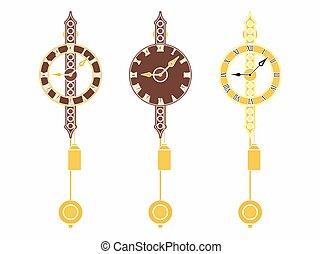 barwny, klasyk, ścienny zegar, bez, szkic