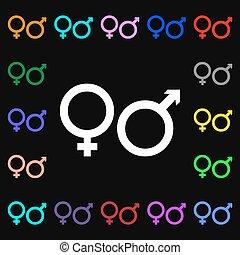 barwny, losy, poznaczcie., iconi, symbolika, wektor, samica, samiec, twój, design.