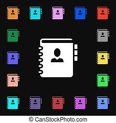 barwny, losy, poznaczcie., twój, symbolika, telefon, wektor, adres, notatnik, ikona, książka, design.